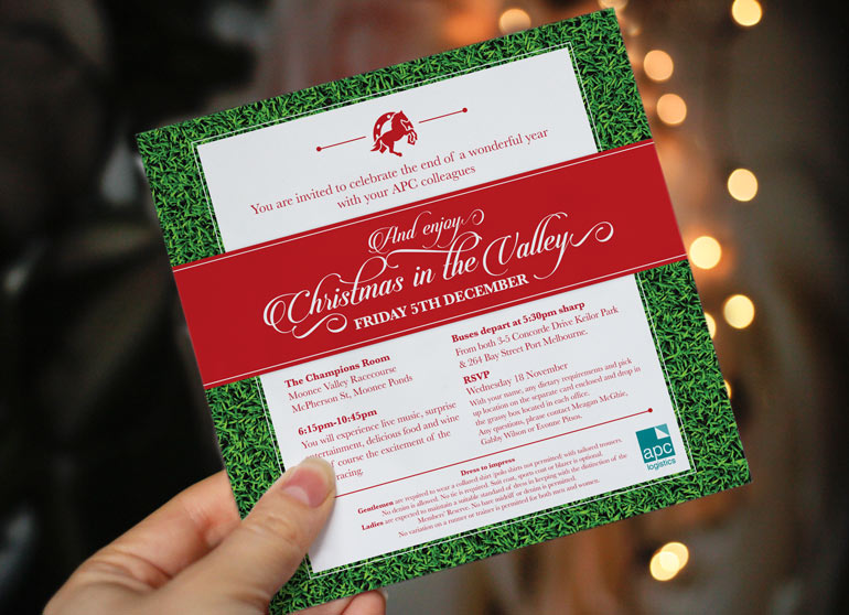 Christmas Party Invitation design for APC Logistics