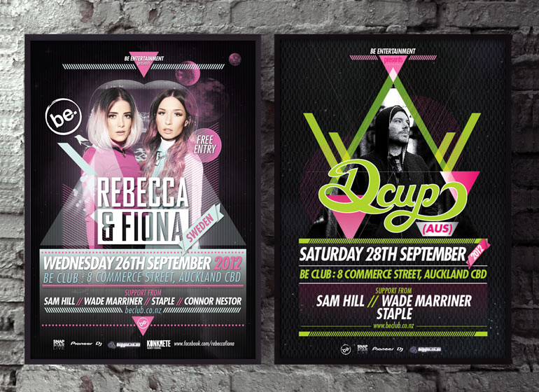 Gig poster designs for Be Club, Auckland