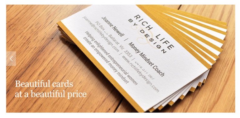 Rich Life by Design business card web banner