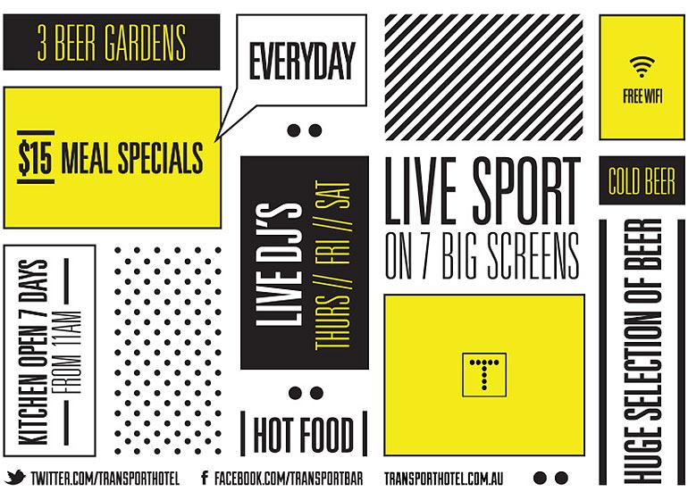 The menu back for Transport Hotel Fed Square Melbourne