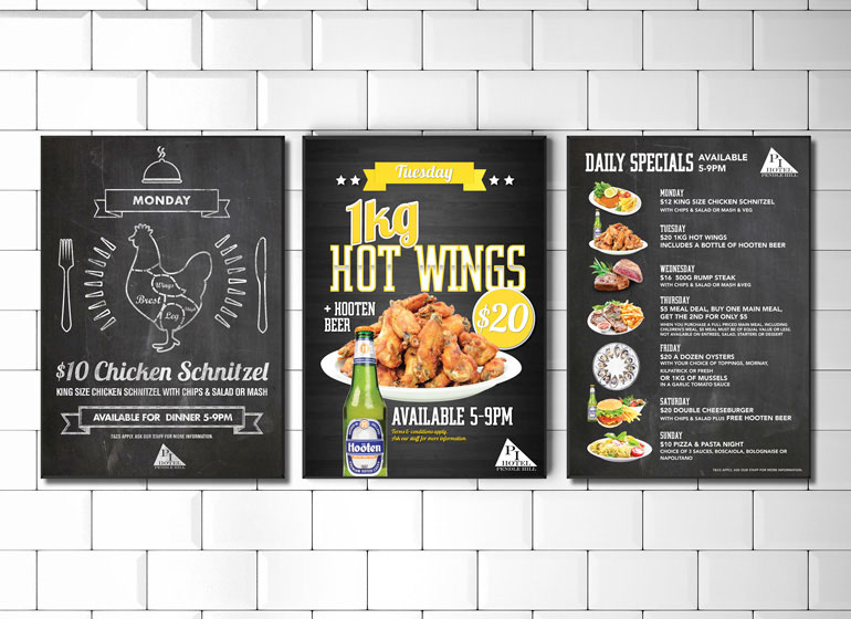 Three poster designs advertising daily deals for Pendle Inn