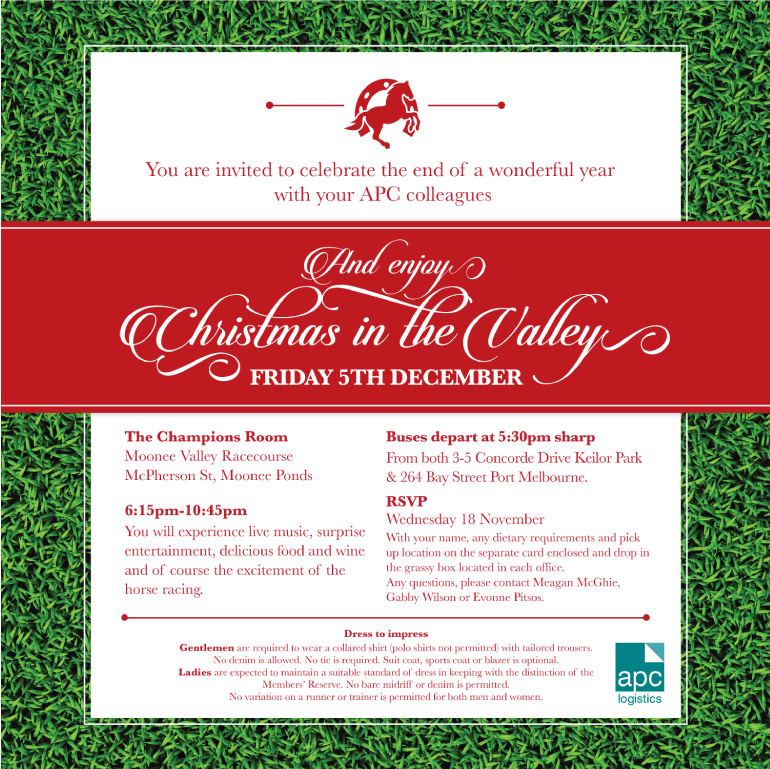 Invitation graphic design for Christmas event