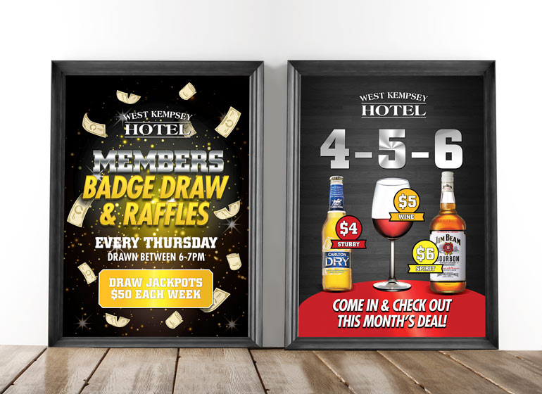 Members prize draw and 4-5-6 poster design for West Kempsey Hotel