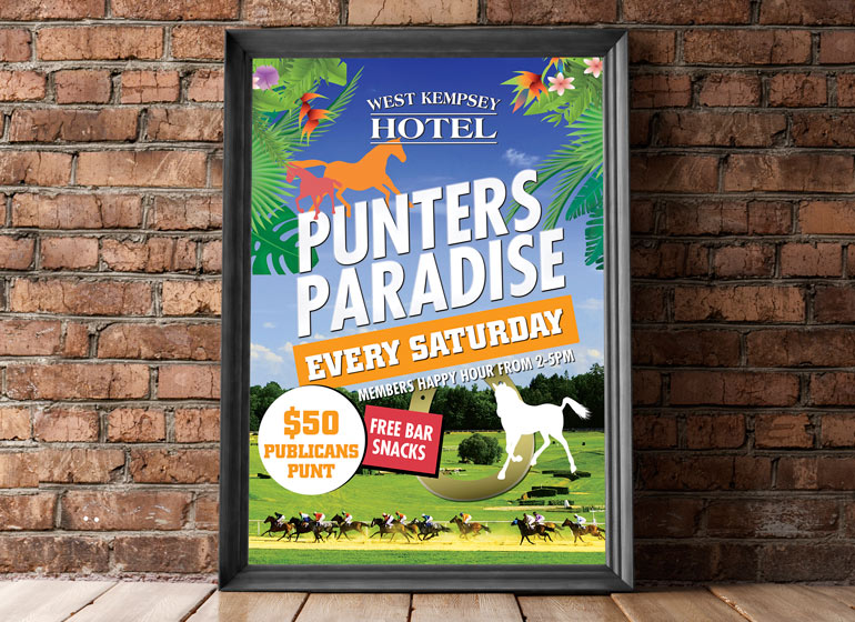 Punters paradise poster design local advertising in nsw