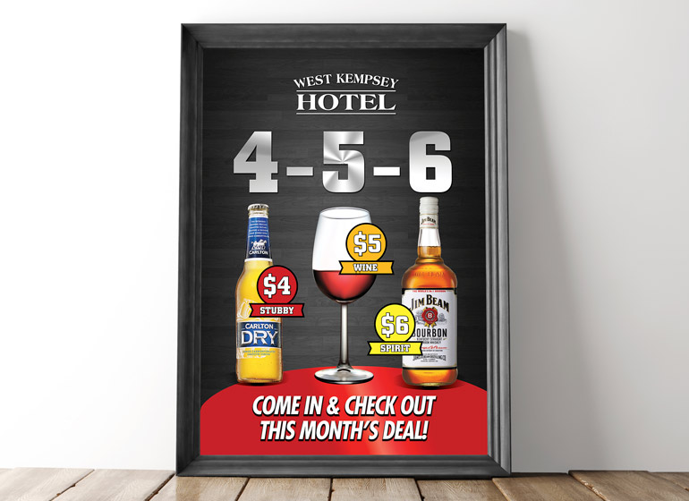 West Kempsey Hotel wine and beer specials advertising graphic design