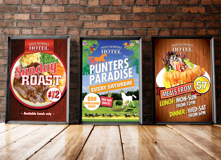 West Kempsey Hotel poster graphic design