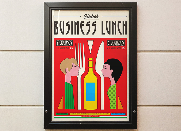 Business lunch poster design in an Art Deco theme