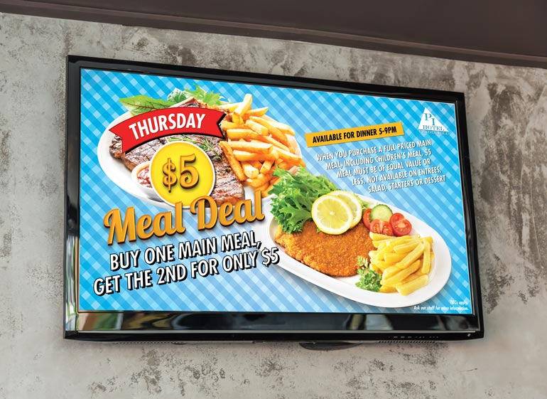 Pub meal deal poster and TV screen designer in Australia