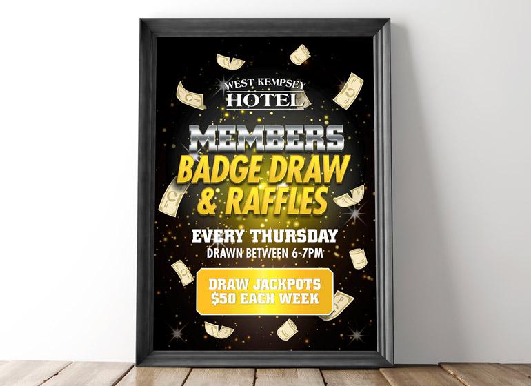 West Kempsey Hotel raffle poster designer creative restaurant marketing