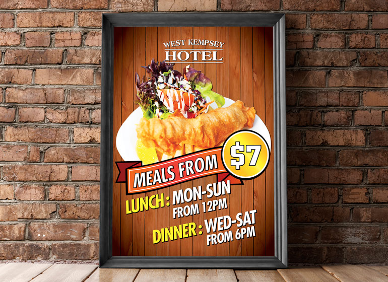 West Kempsey Hotel restaurant poster design new south wales australia